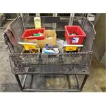 ROLLING BASKET WITH CARBIDE INSERTS, REAMERS, ETC.