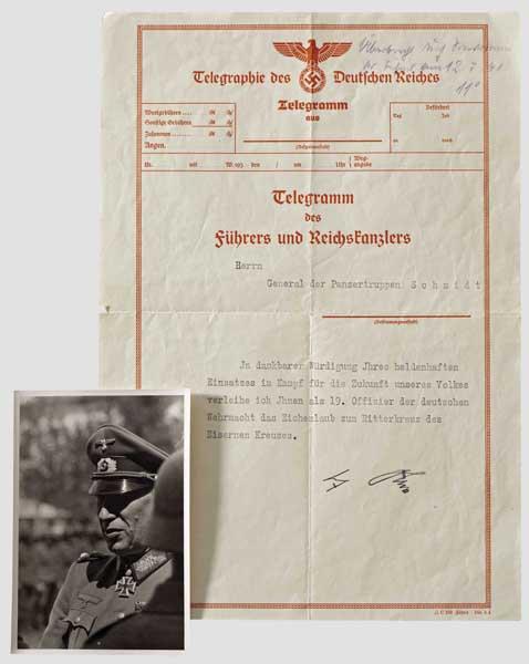 Lot 7593 - Generaloberst Rudolf Schmidt (1886 - 1957) - Dokumente des Trägers des Eichenlaubs zum Ritterkreuz