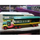 A Circa 1970's HESS Gasoline Plastic Toy Model Tanker Truck (Hong Kong), complete with three plastic