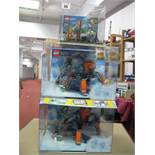 Three Lego City Shop Display Units, including #60192 Artic Ice Crawler, (2) #60171 Mountain