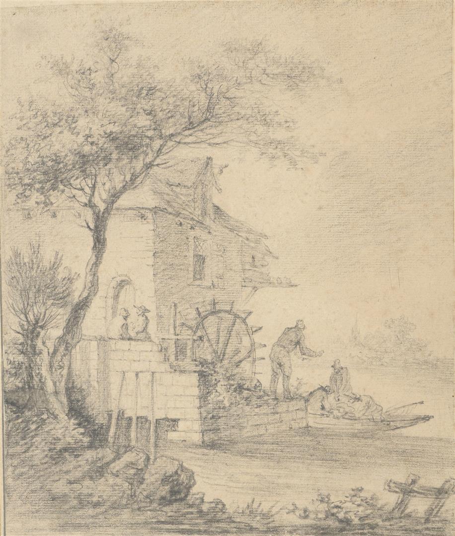 Lot 50 - Aignan-Thomas DESFRICHES (1715-1800). Personnages embarqués accostés au moulin. [...]