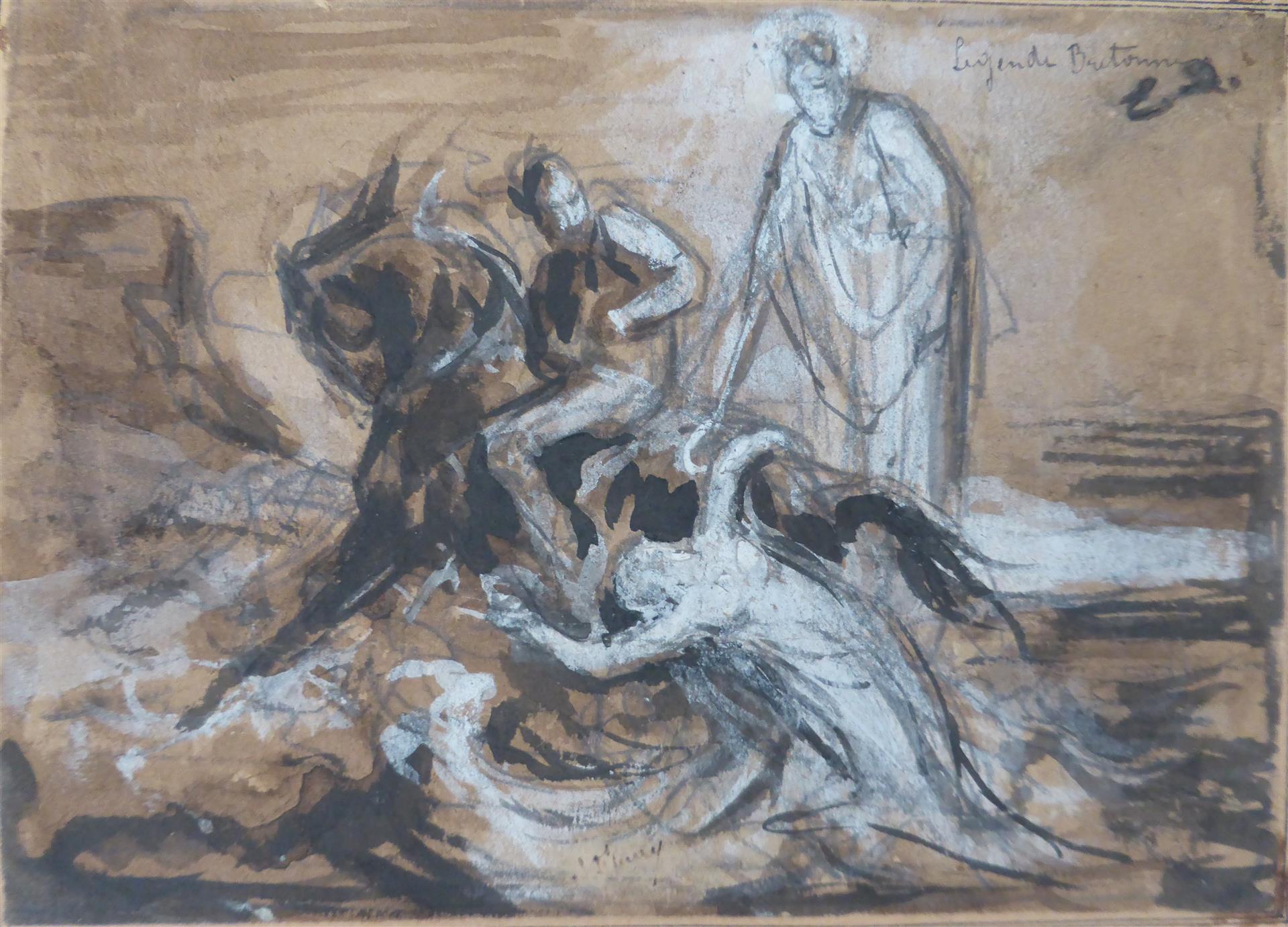 Lot 59 - Léon FLEURY (1804 - 1858), attribué à. Légende Bretonne. Crayon noir, plume et [...]
