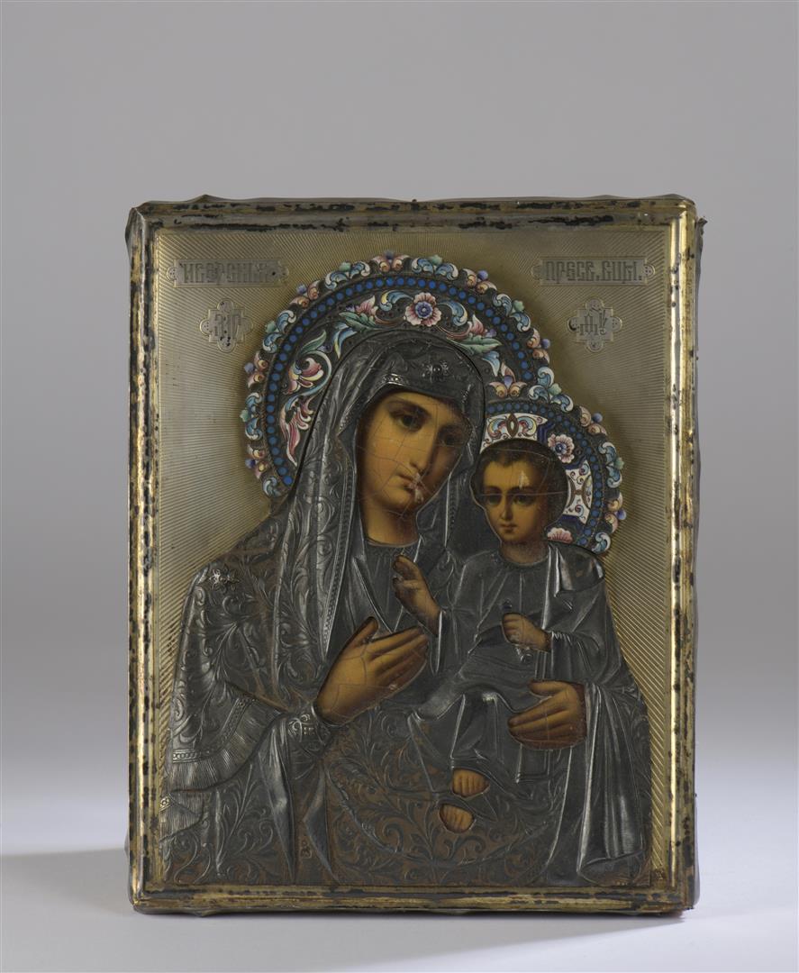 Lot 35 - Vierge de Kazan. Icône rectangulaire à tempera sur bois garni de velours, riza- [...]