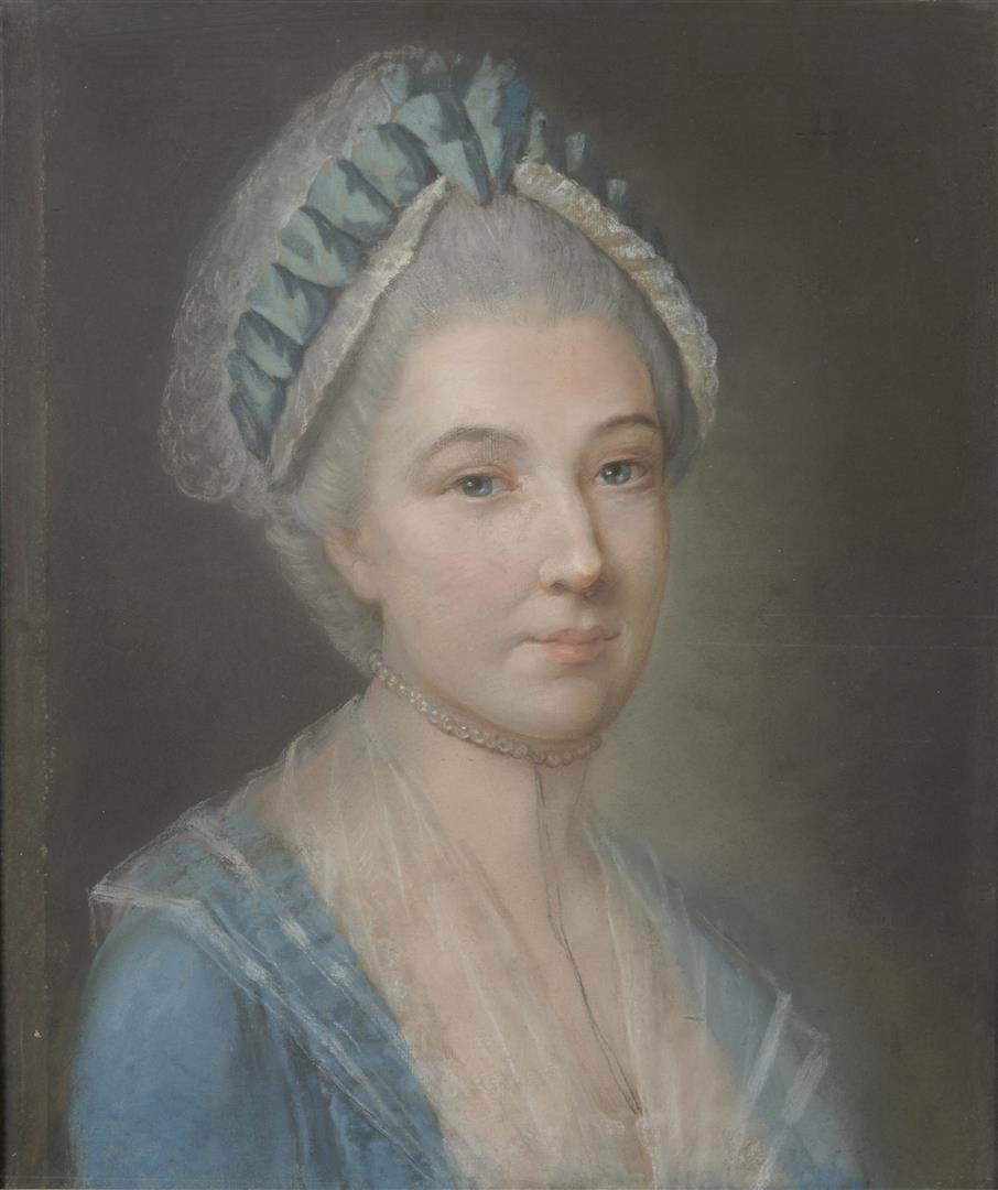 Lot 51 - École française XVIIIe siècle, dans le goût de Jean-Baptiste PERRONNEAU. Femme au [...]