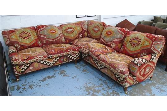 GEORGE SMITH CORNER SOFA, With Kilim Upholstery (in Two Sections), 250cm X  246cm (with Faults).