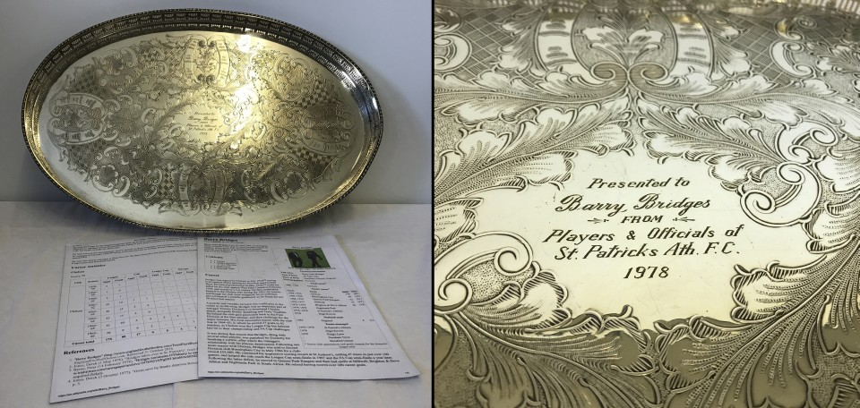 """Lot 20 - A silver plated presentation tray given to """"Barry Bridges"""" from players and officials in 1978."""