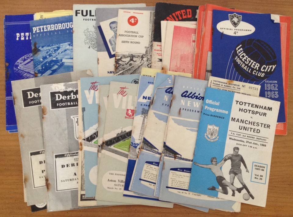 Lot 44 - A collection of 35 assorted football programmes and 11 tickets.