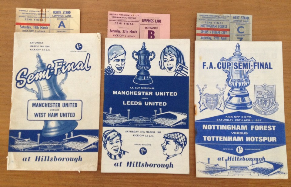 Lot 50 - 3 x FA Cup Semi-Final football programmes with tickets.