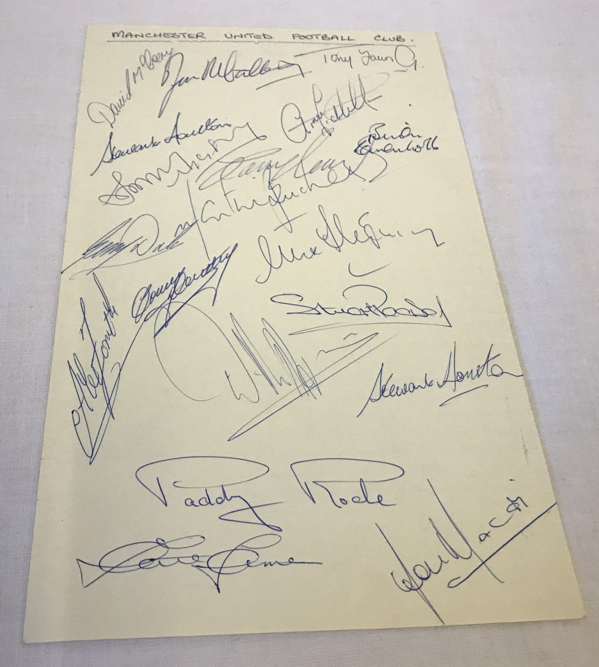 Lot 1 - A set of 19 Manchester United footballer signatures on a single sheet from the 1974/5 season.