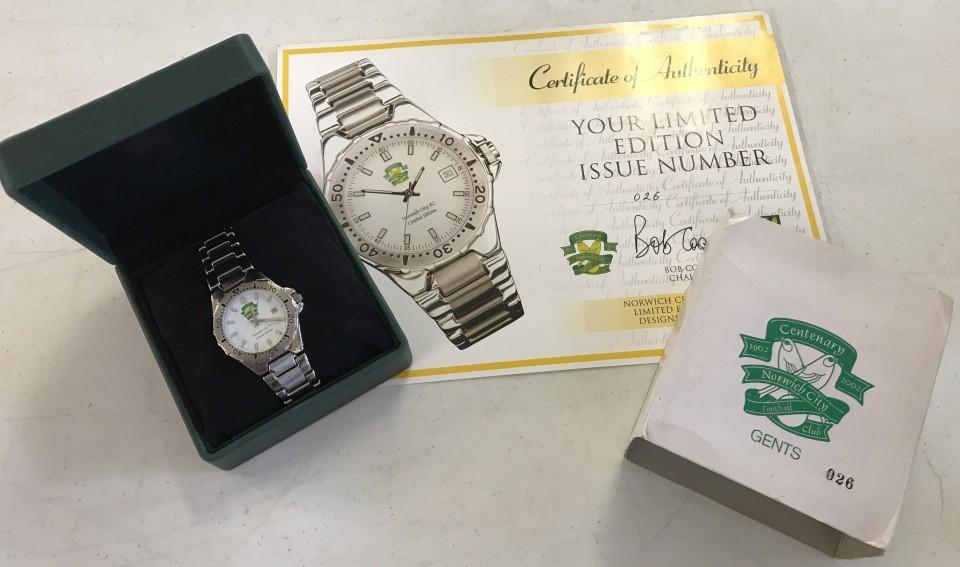 Lot 29 - A boxed Norwich City FC Centenary Limited Edition quartz watch.