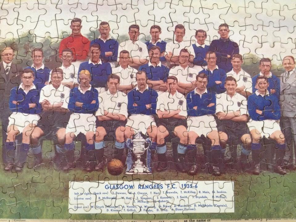 Lot 51 - An original 1935-36 season Glasgow Rangers F.C. football jigsaw.