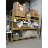 HEAVY DUTY 3 LEVEL STEEL RACK, C/W CONTENTS, 103'' LONG X 4FT WIDE X 100'' HIGH, 4'' THICK CROSS