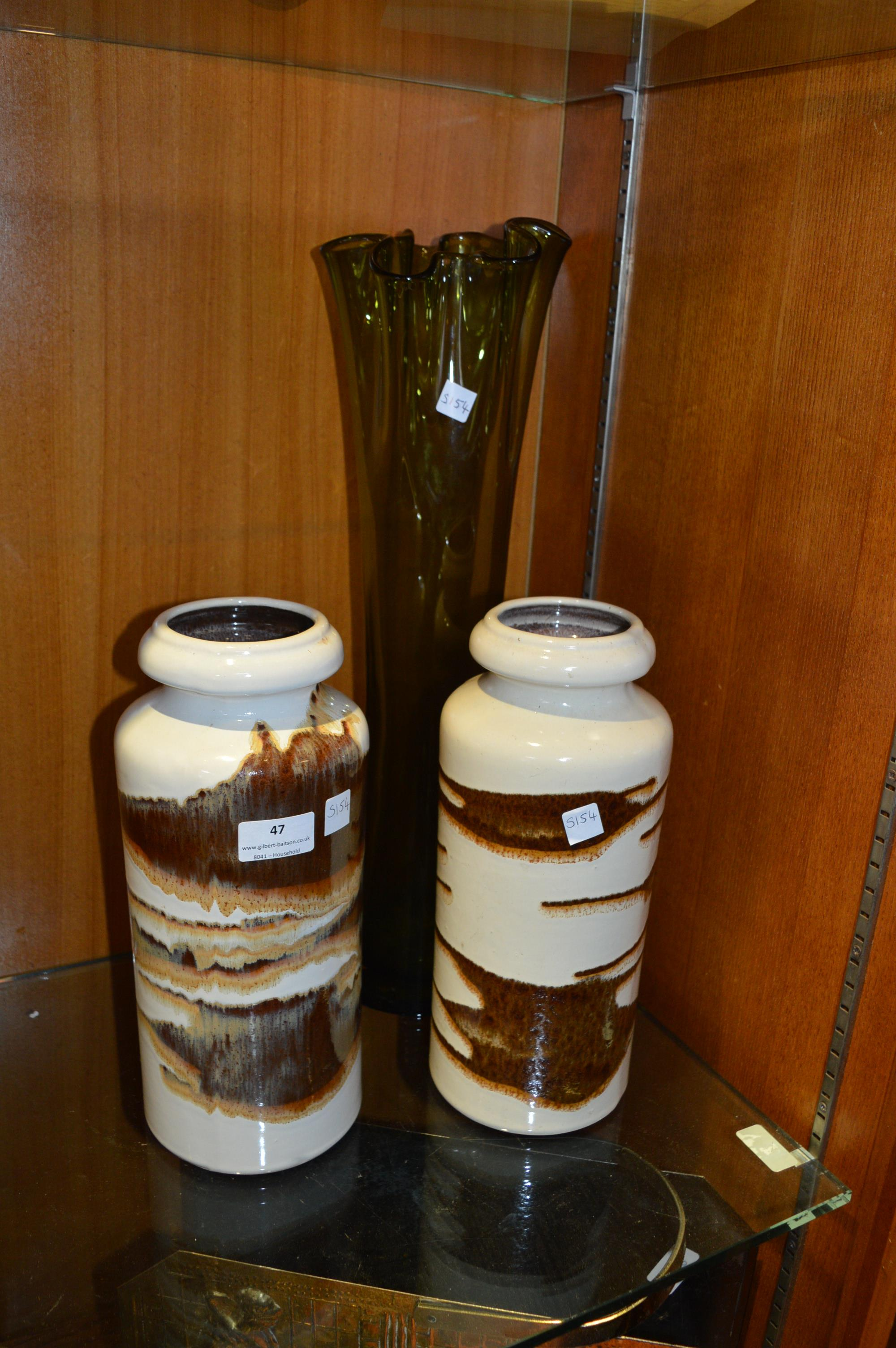 Lot 47 - Pair of West German Vases and a Green Glass Vase