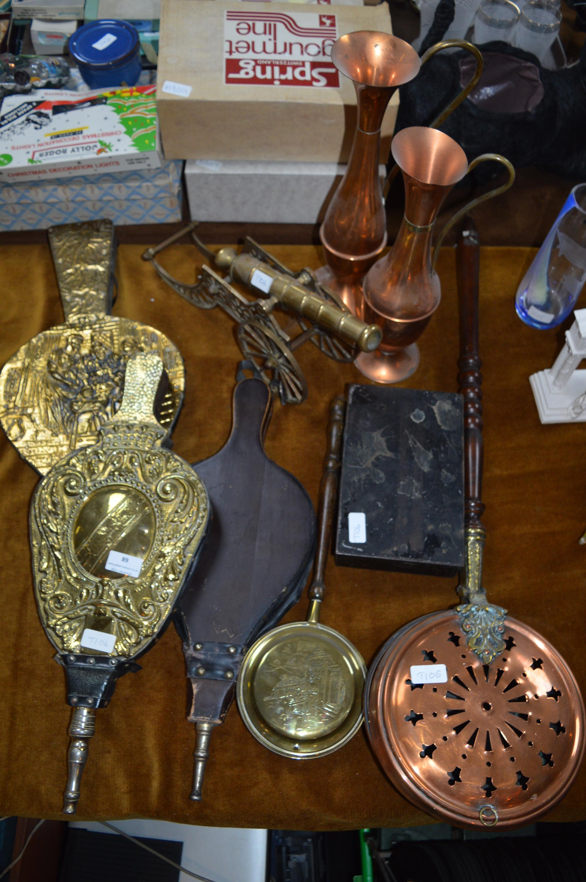 Lot 89 - Collection of Brassware Including Bellows, Warming