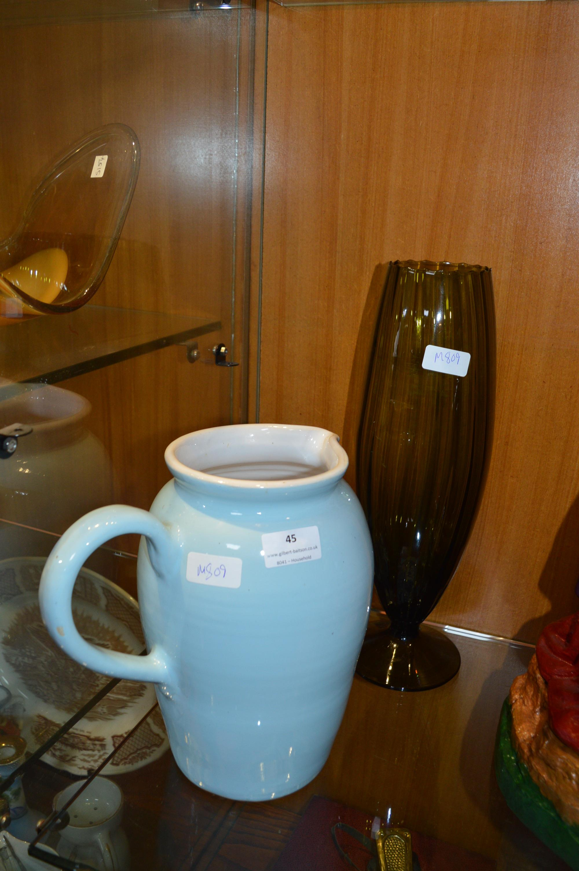 Lot 45 - Large Blue Jug and a Glass Vase
