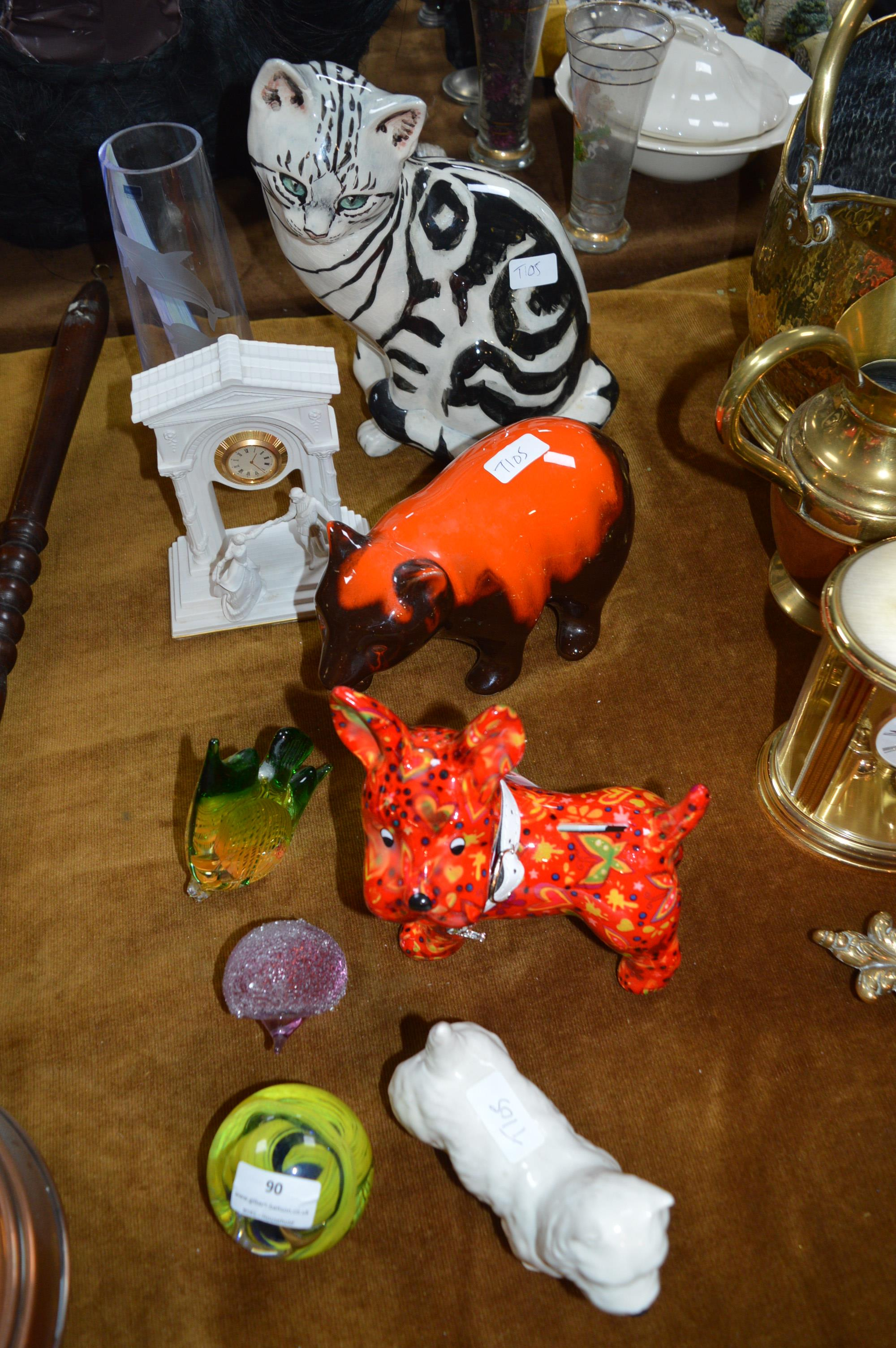 Lot 90 - Collection of Pottery Cats, Scottie Dogs, and Glas