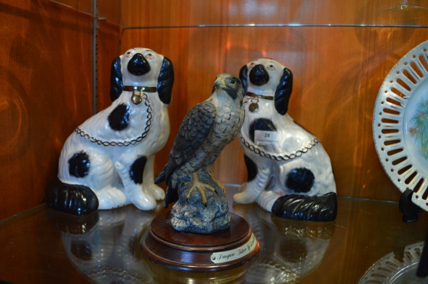 Lot 28 - Pair of Staffordshire Style Pottery Dogs and a Leonardo Peregrine Falcon