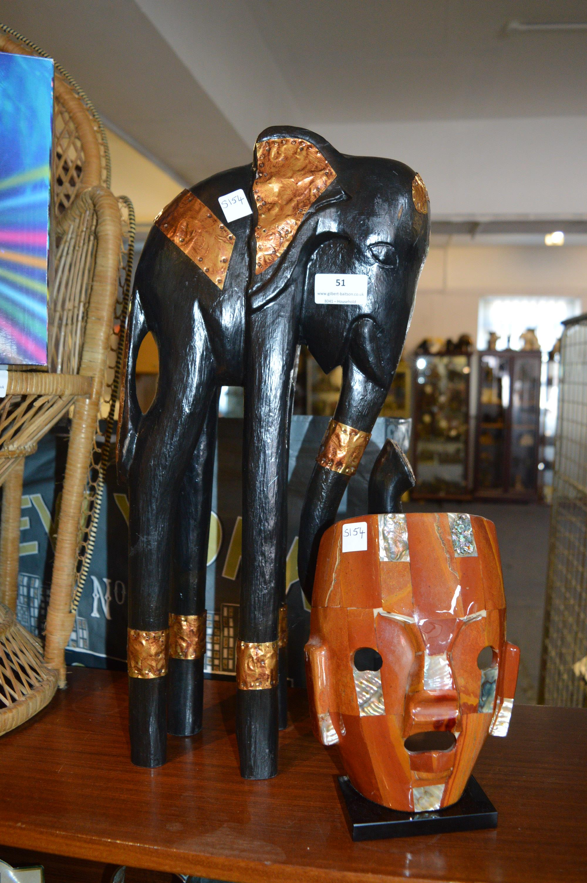 Lot 51 - Carved Wooden Elephant and an African Mask