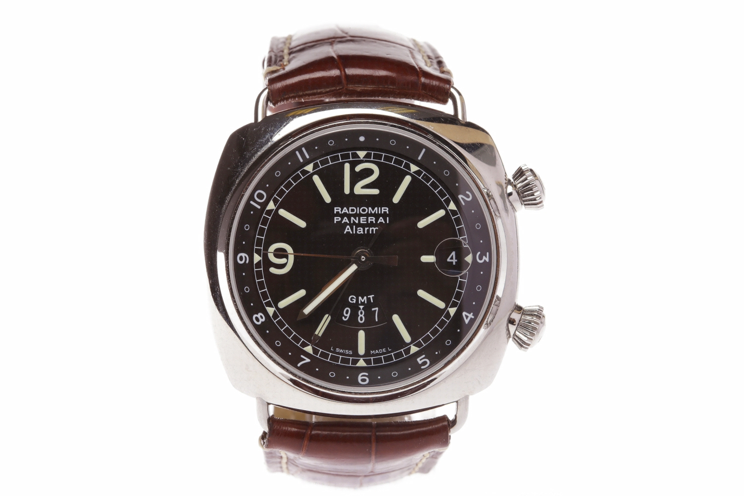 Lot 762 - GENTLEMAN'S RADIOMIR PANERAI ALARM GMT STAINLESS STEEL AUTOMATIC WRIST WATCH the round black dial