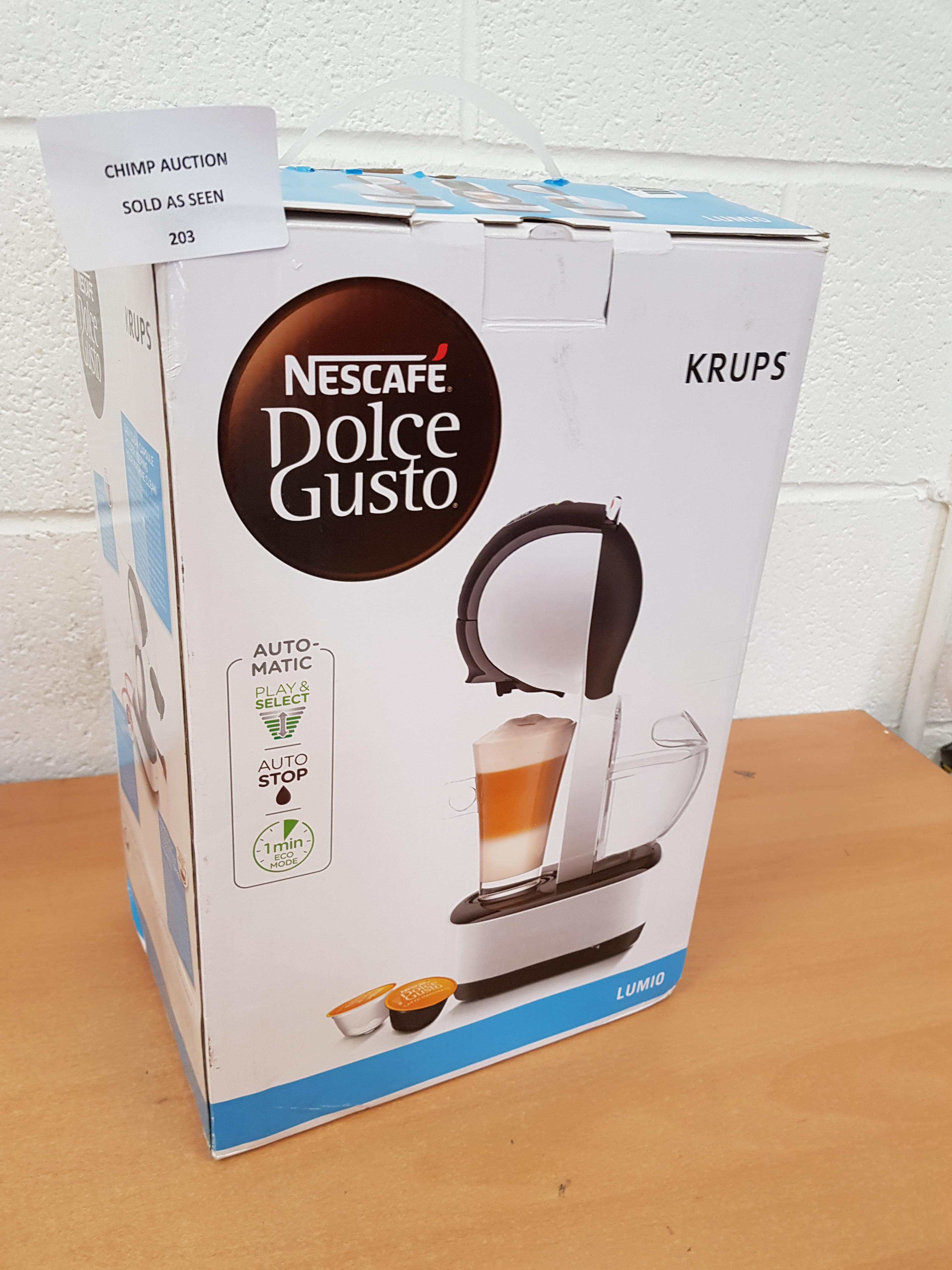 Lot 203 - Nescafé Dolce Gusto Krups Lumio Automatic Coffee Machine RRP £119.99