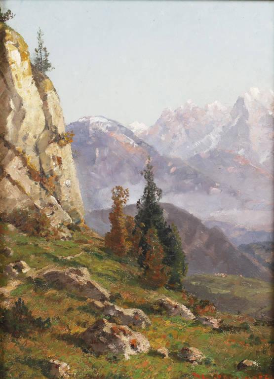 Auktionslos 4251 - Karl Kaltenmoser, Alpenlandschaft Blick über sonnenbeschienene Bergwiesen auf das dahinterliegende