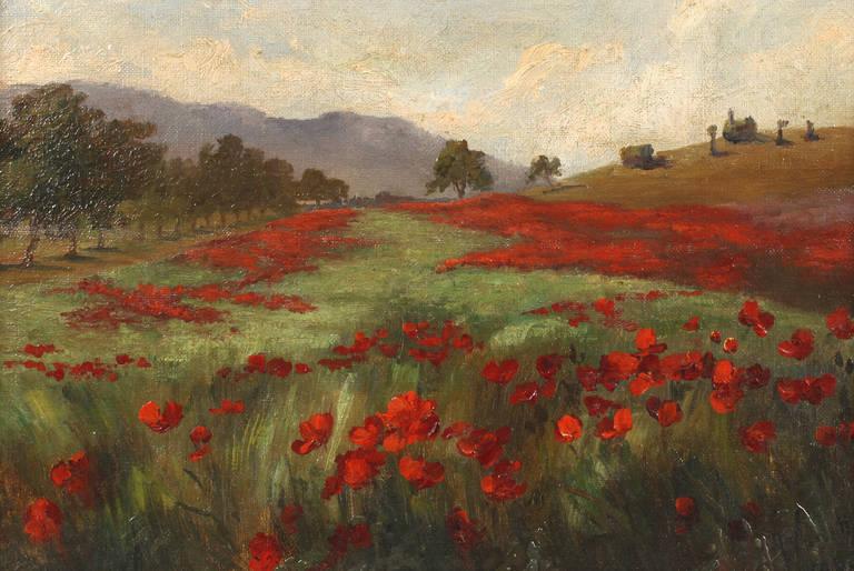 Lot 4243 - Amalie Vanotti, Klatschmohnfeld stimmungsvolle sommerliche Landschaft mit üppig blühenden Mohnblumen