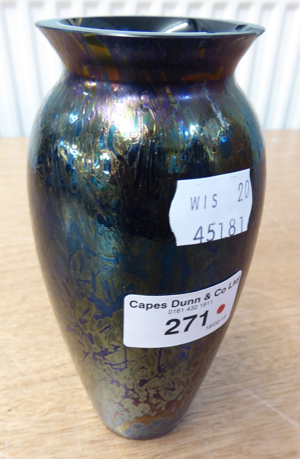 Lot 271 - ROYAL BRIERLEY STUDIO DEEP PURPLE AND GOLD IRIDESCENT GLASS SLENDER OVULAR BASE, SIGNED ON BASE,