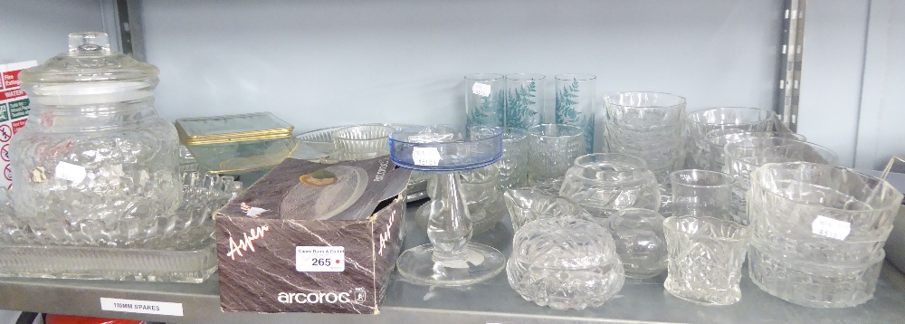 Lot 265 - A QUANTITY OF GLASSWARES TO INCLUDE BISCUIT BARREL 'ARCOROC' DISHES, DRINKING GLASSES ETC...