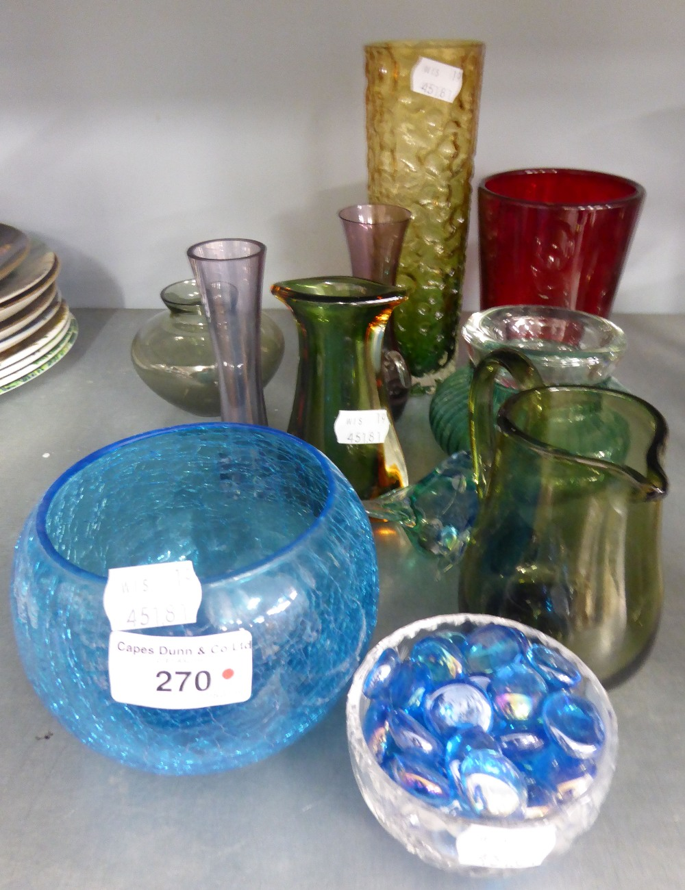 Lot 270 - WHITEFRIARS GLASS CYLINDRICAL VASE AND A BLUE GLASS SQUAT CIRCUALR BOWL AND MISC GLASS ITEMS