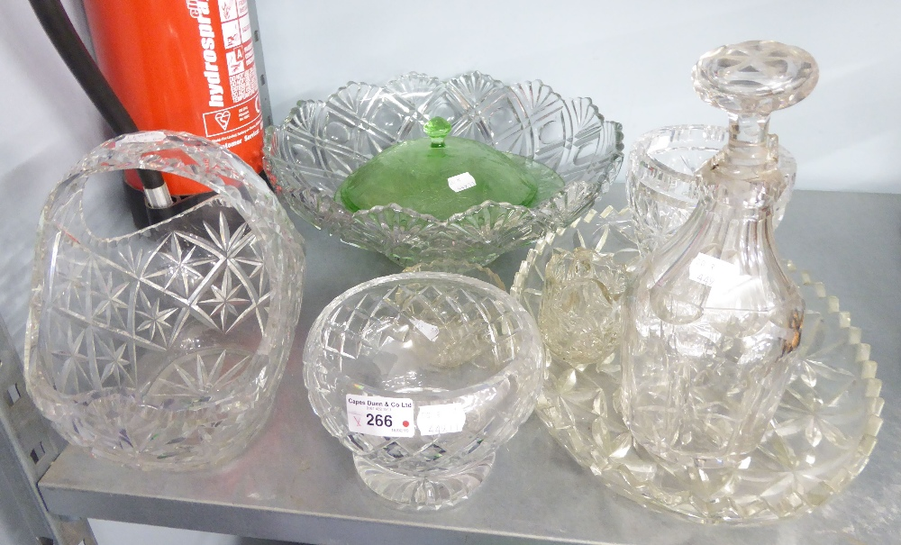 Lot 266 - A LARGE FLORAL ENGRAVED GLASS OVULAR VASE, A LARGE MOULDED GLASS BOWL AND A CUT GLASS BASKET PATTERN