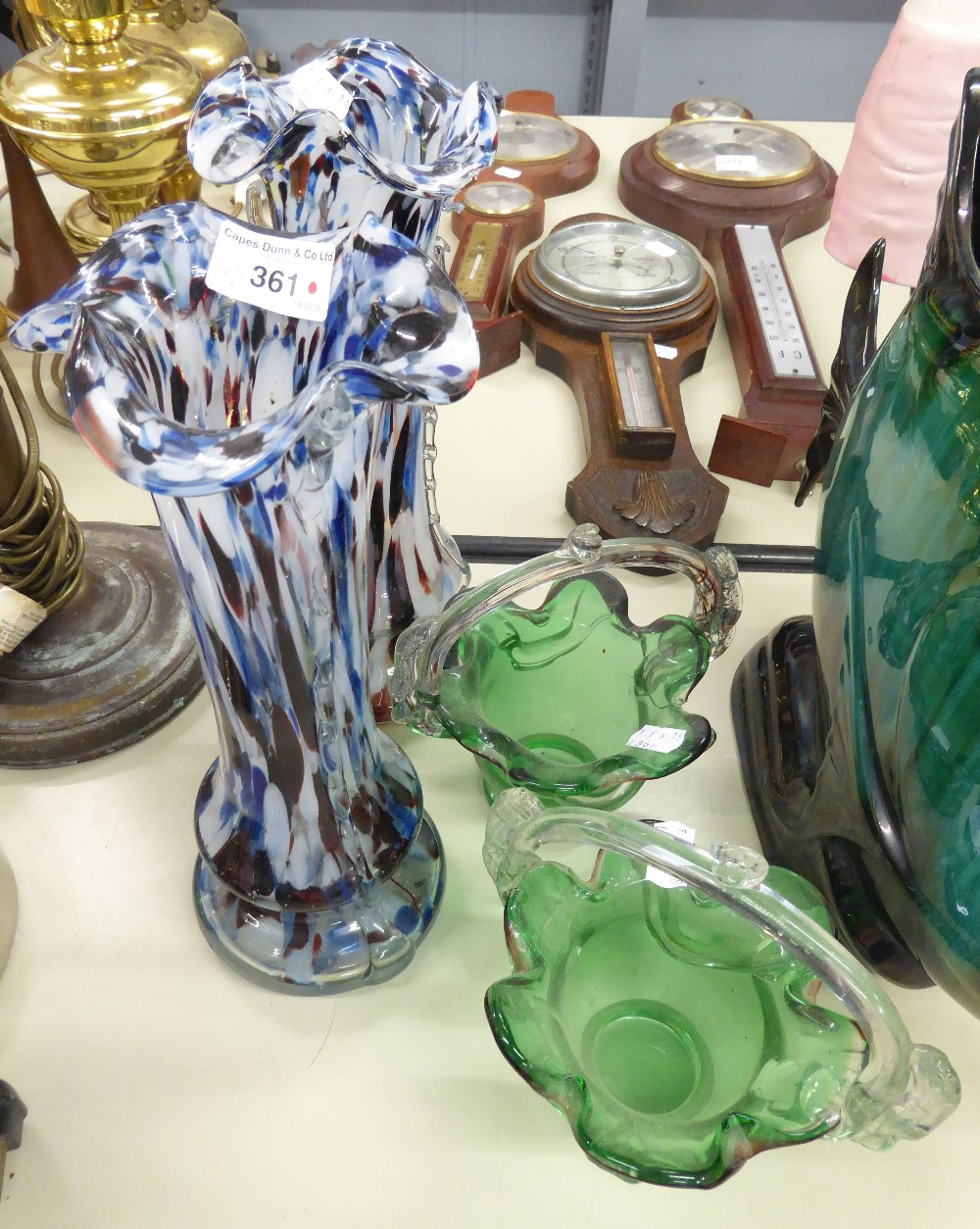 Lot 361 - PAIR OF COLOURED GLASS VASES WITH MOTTLED DETAIL AND FLARED RIMS, AND A PAIR OF GREEN GLASS