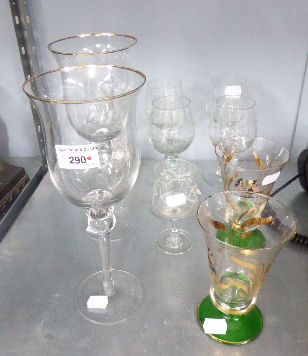 Lot 290 - TEN PIECES OF GLASS WARES TO INCLUDE; SMALL MARY GREGORY TYPE DECANTER JUG ETC...