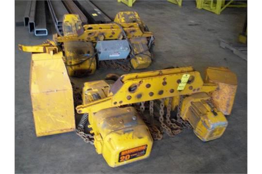 Lot 666 2 harrington 20 ton electric chain hoists
