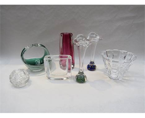 Seven pieces of Swedish glass including Orrefors, Flygsfors and Kosta Boda