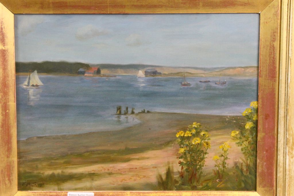 Lot 44 - Gilt framed Oil on board of a Beach scene