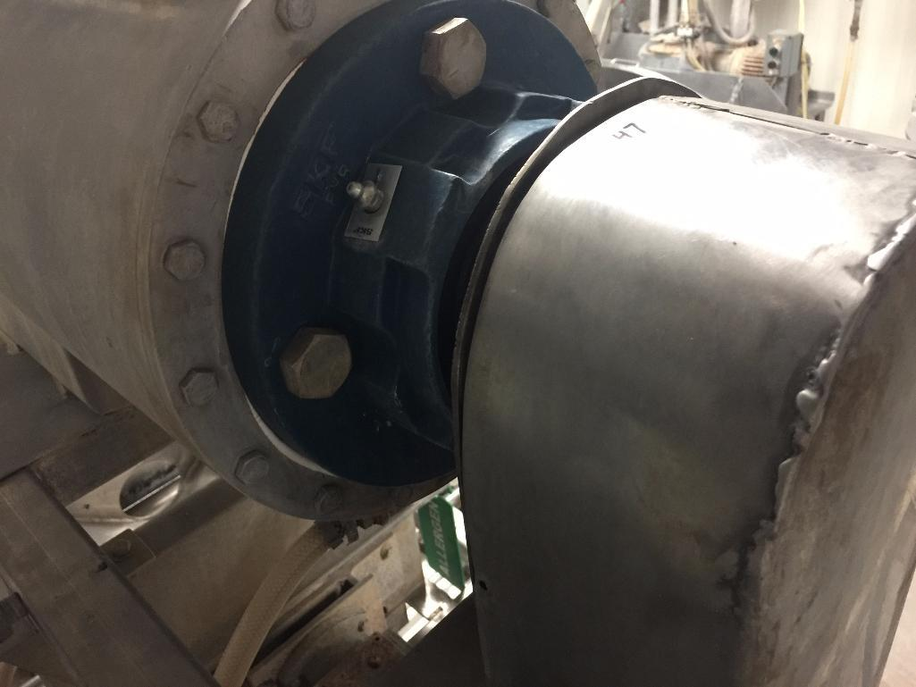Lot 147 - SS blender / mixer to depositor, 31 in. x 10 in. dia, SS screw, motor and drive. - ** Located in Sou