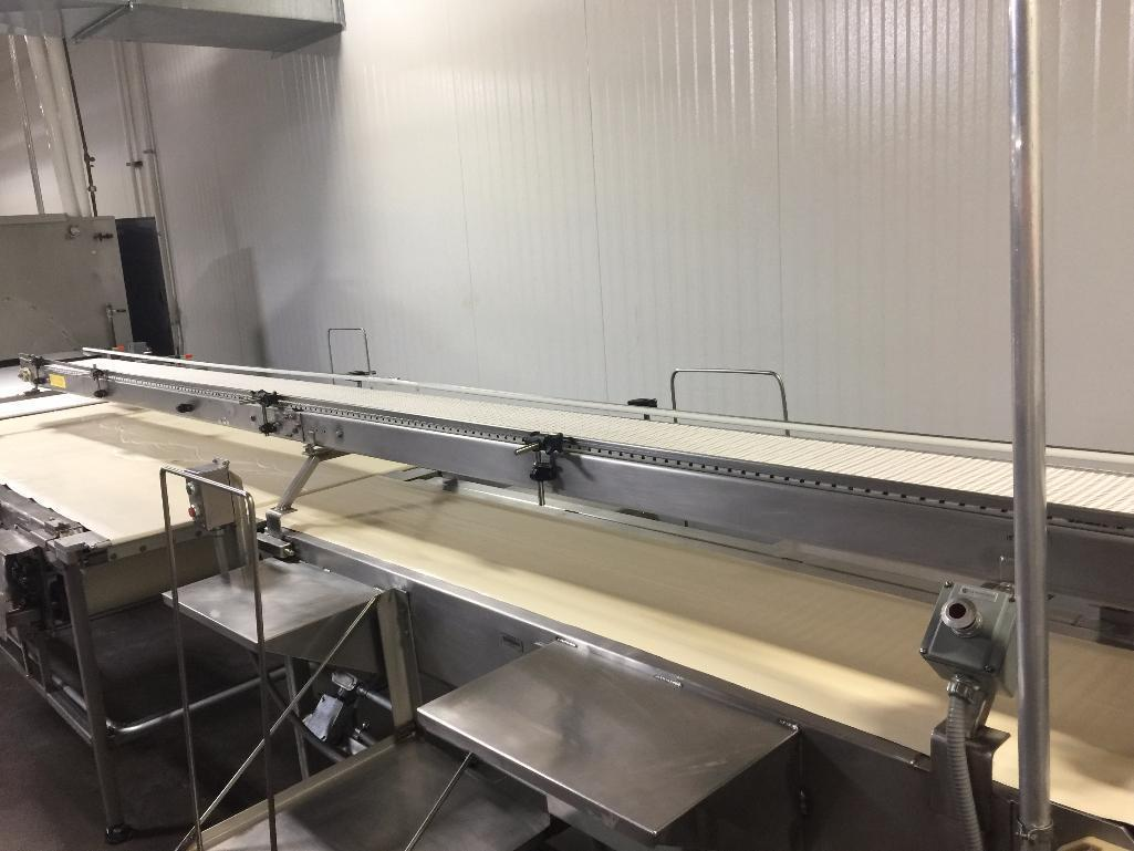 Lot 155 - SS conveyor, 196 in. x 10 in., white plastic belt, motor and drive, mounted on top for finished prod