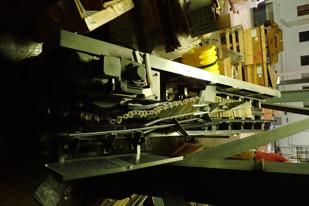 Lot 825 - GC Evans lay down conveyor, 22 ft. long x 10 in. wide belt to lay down product to have hot product r