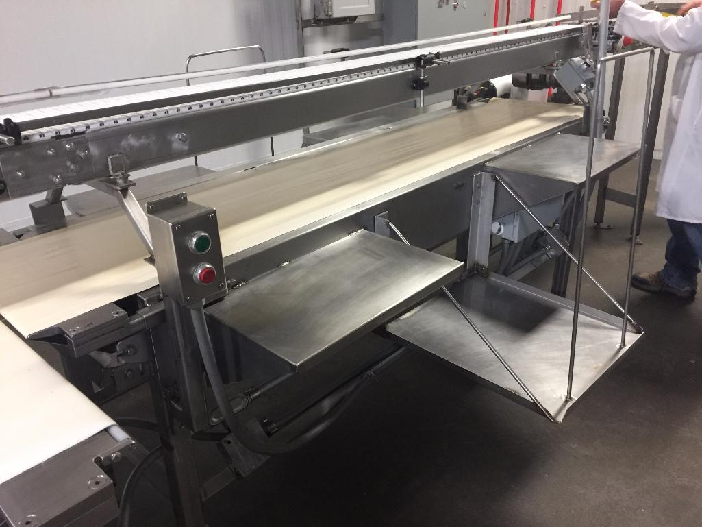 Lot 154 - SS conveyor, 93 in. x 17 in. x 37 in. tall, white vinyl belt, motor and drive. - ** Located in South