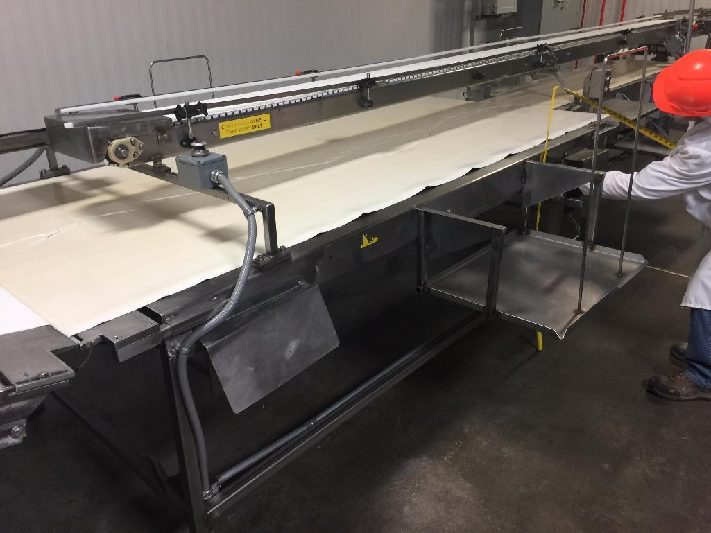 Lot 153 - SS conveyor, 112 in. x 48 in. x 37 in. tall, hand pack, white vinyl belt, motor and drive. - ** Loca
