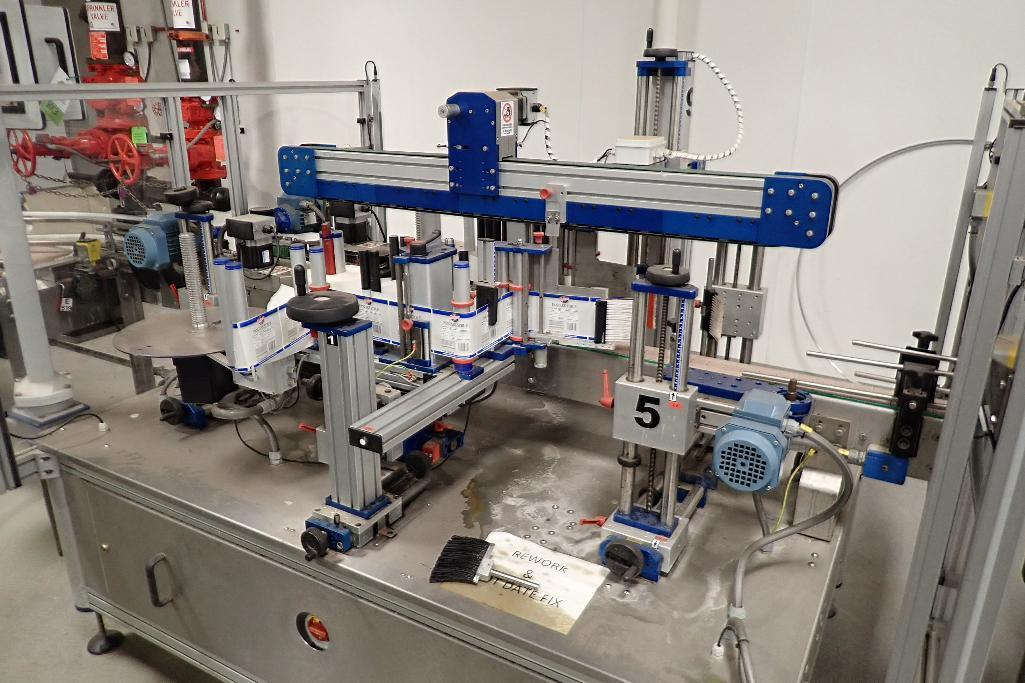 Lot 813 - PackLab compact twin head labeler, controls, touch screen, conveyor running through is 13 ft. long x