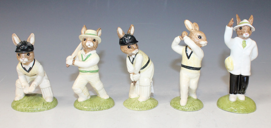 Cake Decorating Cricket Figures : A set of four Royal Doulton Bunnykins Cricket series ...