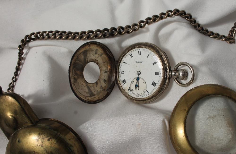 Lot 25 - A George V silver half hunter pocket watch,