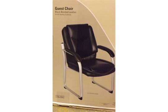 1 boxed true innovations black bonded leather guest chair rrp 129