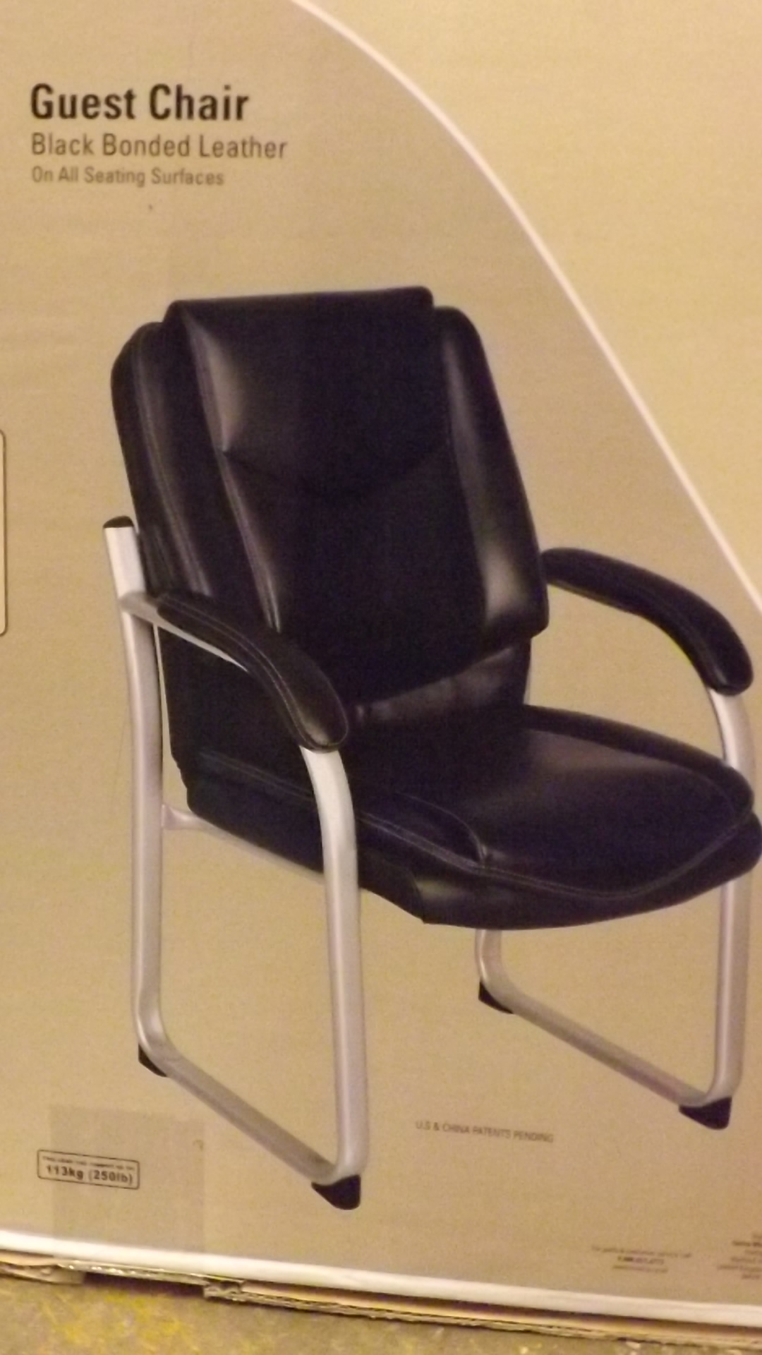Lot 495   1 BOXED TRUE INNOVATIONS BLACK BONDED LEATHER GUEST CHAIR RRP £129