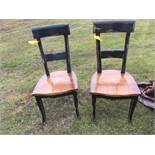 WOOD DESK & 2 CHAIRS