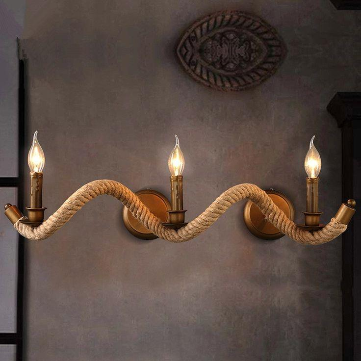 Lot 67 - [2] NEW Unique Vintage Style Retro Rope 3-Bulb Vanity Light Fixture (Bulbs NOT Included)