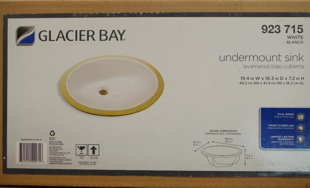 Lot 68 - NEW GLACIER BAY White Undermount Sink