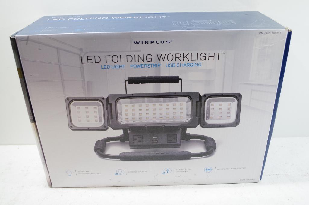 Lot 57 - WINPLUS LED Folding Work Light w/ Power Strip & USB Charging
