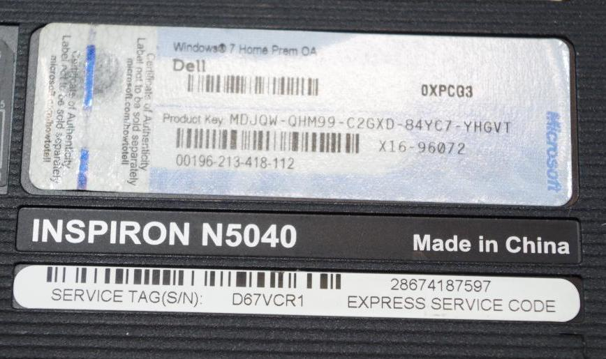 Lot 103 - DELL Inspiron Windows 7 Home Premium Laptop w/ Power Supply M/N N5040